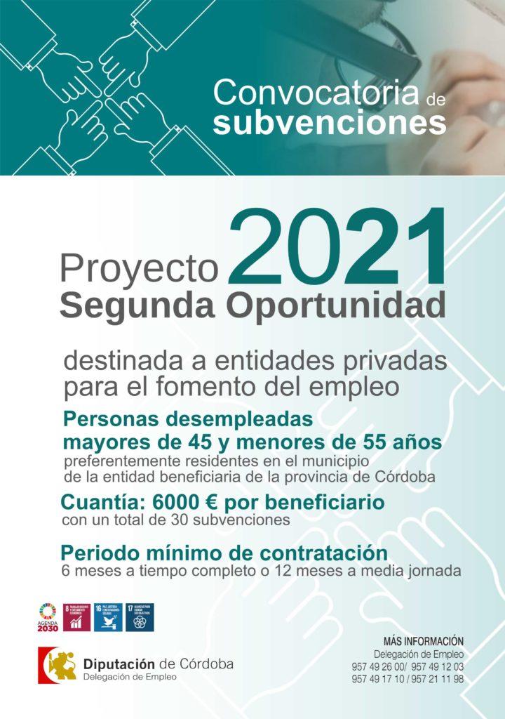 """Cartel Convocatoria de Subvenciones a entidades privadas para el fomento del empleo de personas mayores de 45 y menores de 55 años, """"Proyecto Segunda Oportunidad-2021"""""""